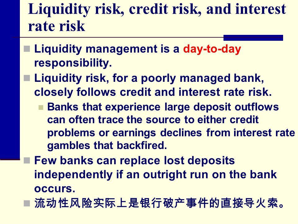 Liquidity risk, credit risk, and interest rate risk