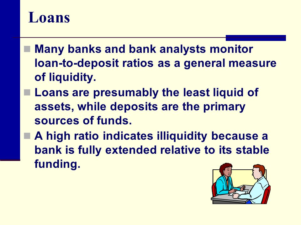Loans Many banks and bank analysts monitor loan-to-deposit ratios as a general measure of liquidity.