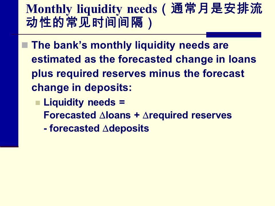 Monthly liquidity needs(通常月是安排流动性的常见时间间隔)