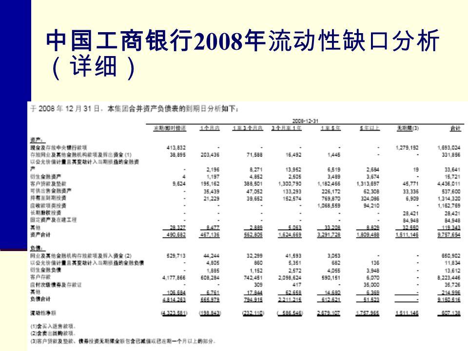 中国工商银行2008年流动性缺口分析(详细)
