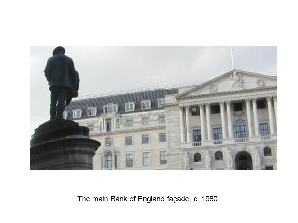 The main Bank of England façade, c. 1980.
