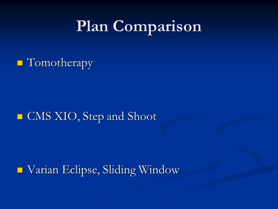 Plan Comparison Tomotherapy CMS XIO, Step and Shoot
