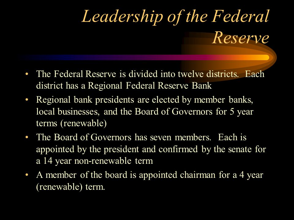 Leadership of the Federal Reserve