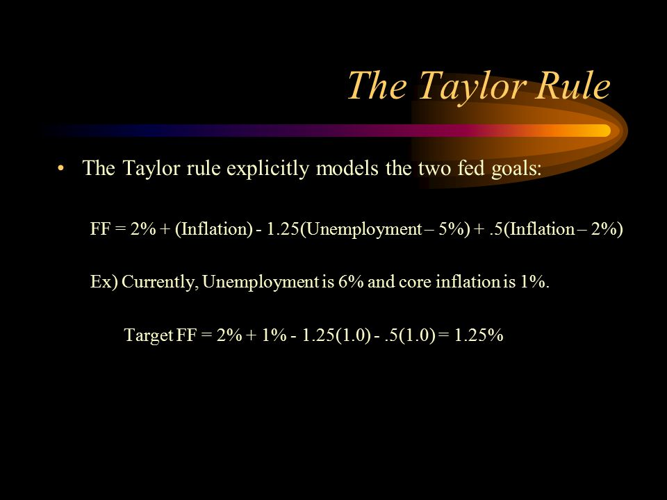 The Taylor Rule The Taylor rule explicitly models the two fed goals: