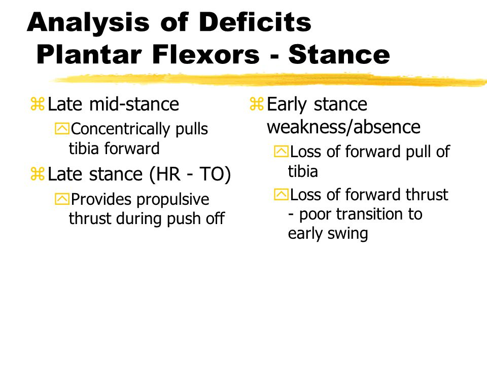 Analysis of Deficits Plantar Flexors - Stance