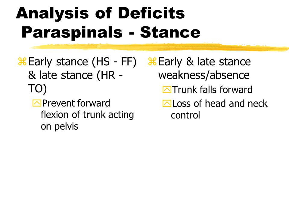 Analysis of Deficits Paraspinals - Stance