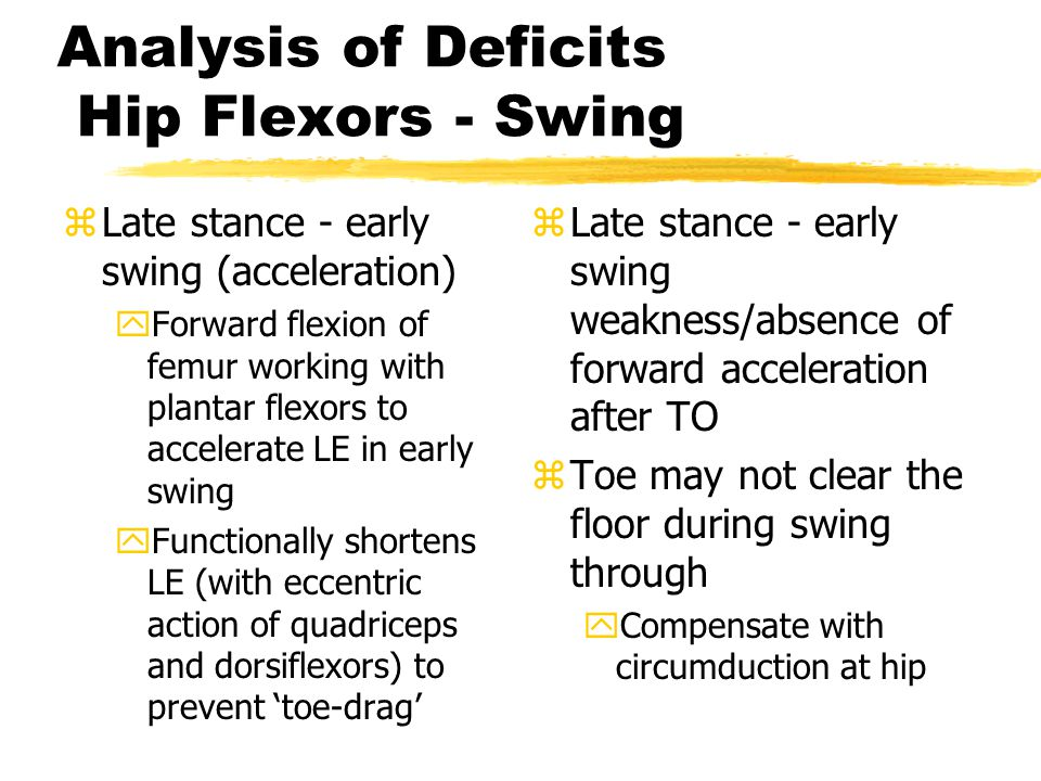 Analysis of Deficits Hip Flexors - Swing