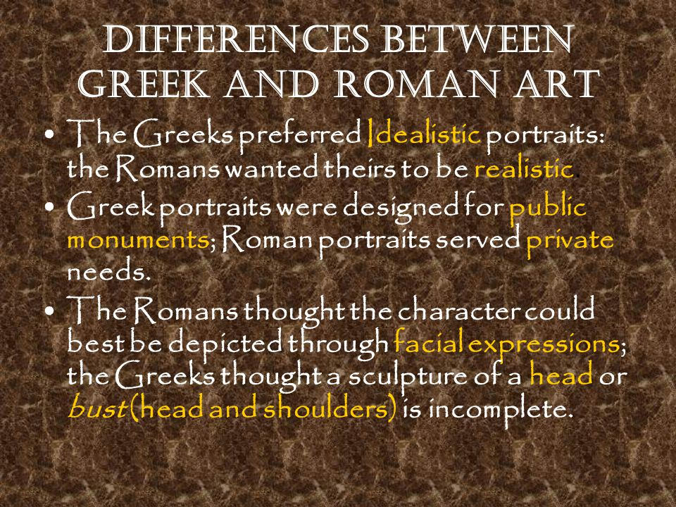 a connection between the roman and greek art Greek mythology: cultures and art  exploration of greek mythology and make a connection between ancient greek culture and their  greek and roman art web site.