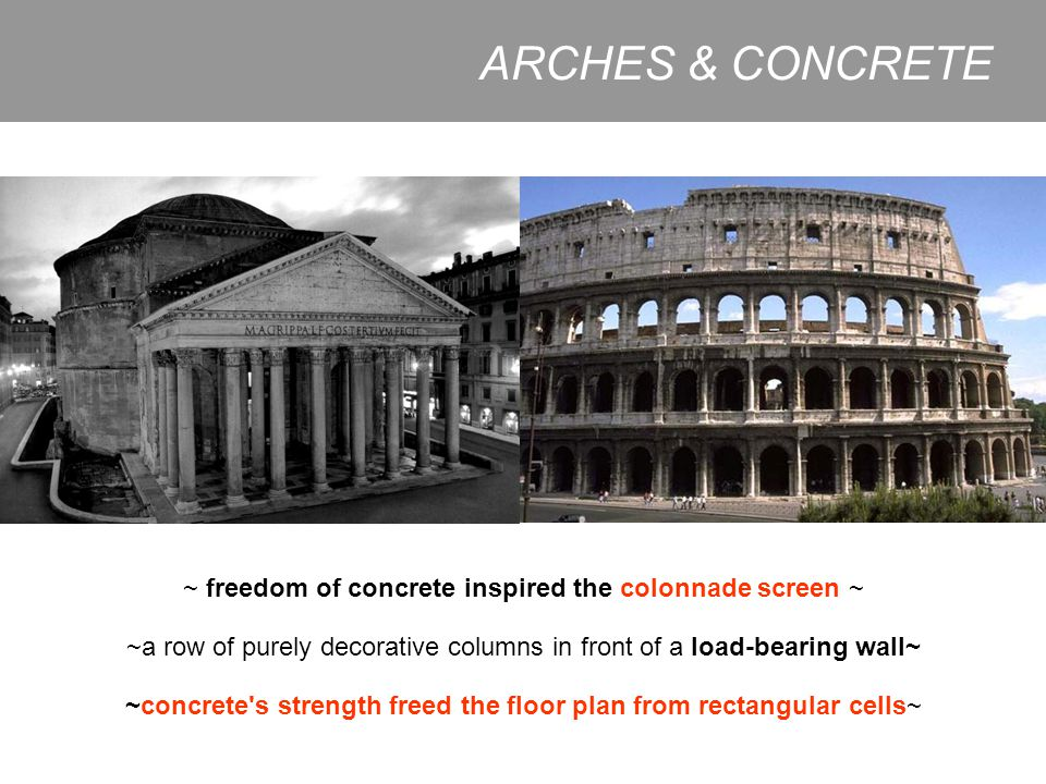 ARCHES & CONCRETE ~ freedom of concrete inspired the colonnade screen ~ ~a row of purely decorative columns in front of a load-bearing wall~