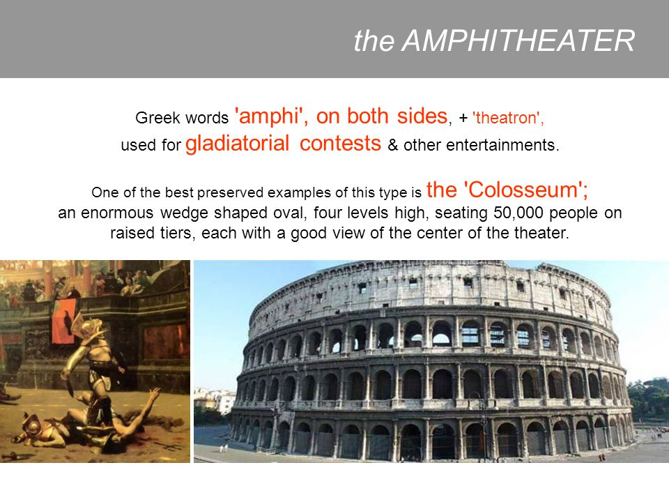 the AMPHITHEATER Greek words amphi , on both sides, + theatron ,
