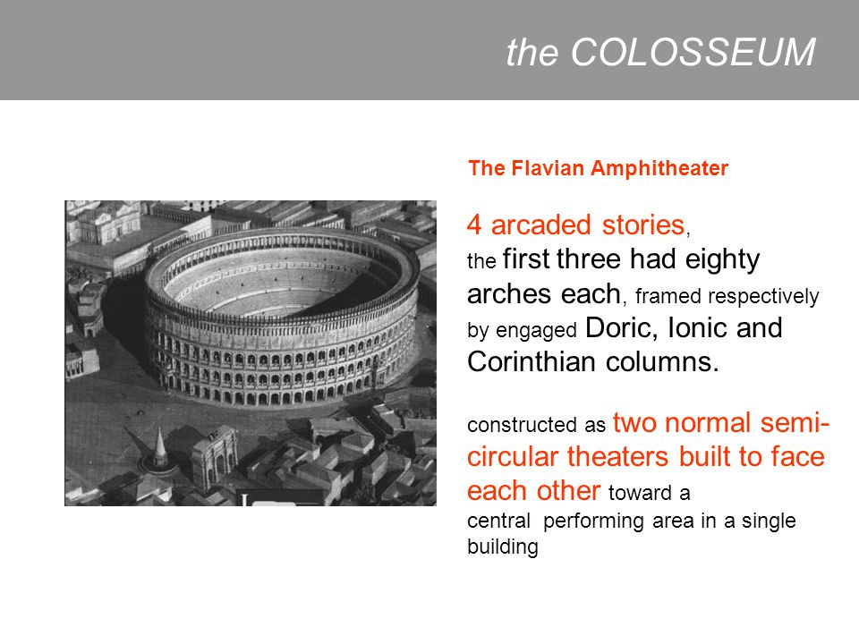 the COLOSSEUM 4 arcaded stories, The Flavian Amphitheater