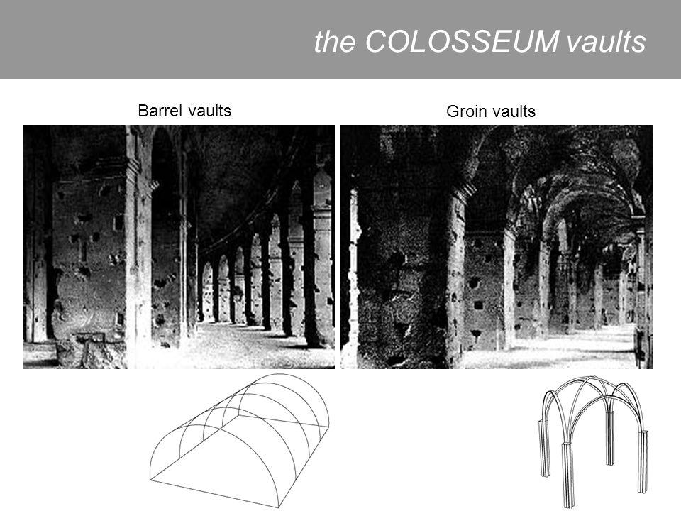 the COLOSSEUM vaults Barrel vaults Groin vaults