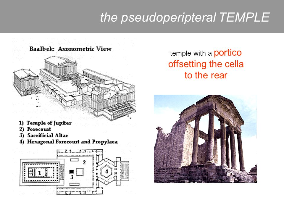 temple with a portico offsetting the cella to the rear