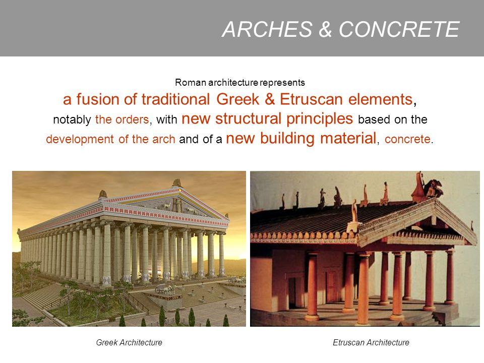 ARCHES & CONCRETE a fusion of traditional Greek & Etruscan elements,