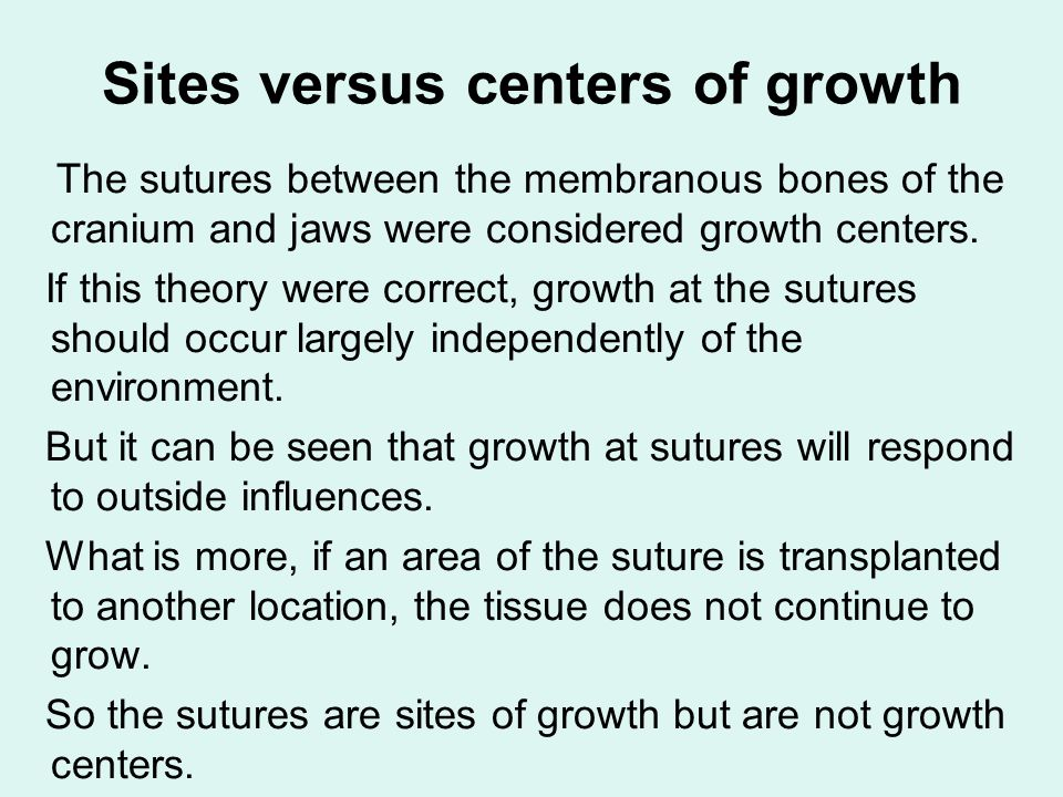 Sites versus centers of growth