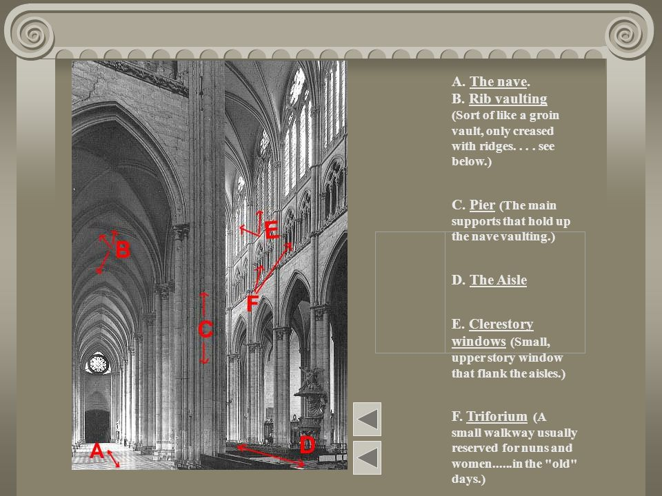 A. The nave. B. Rib vaulting (Sort of like a groin vault, only creased with ridges. . . . see below.)