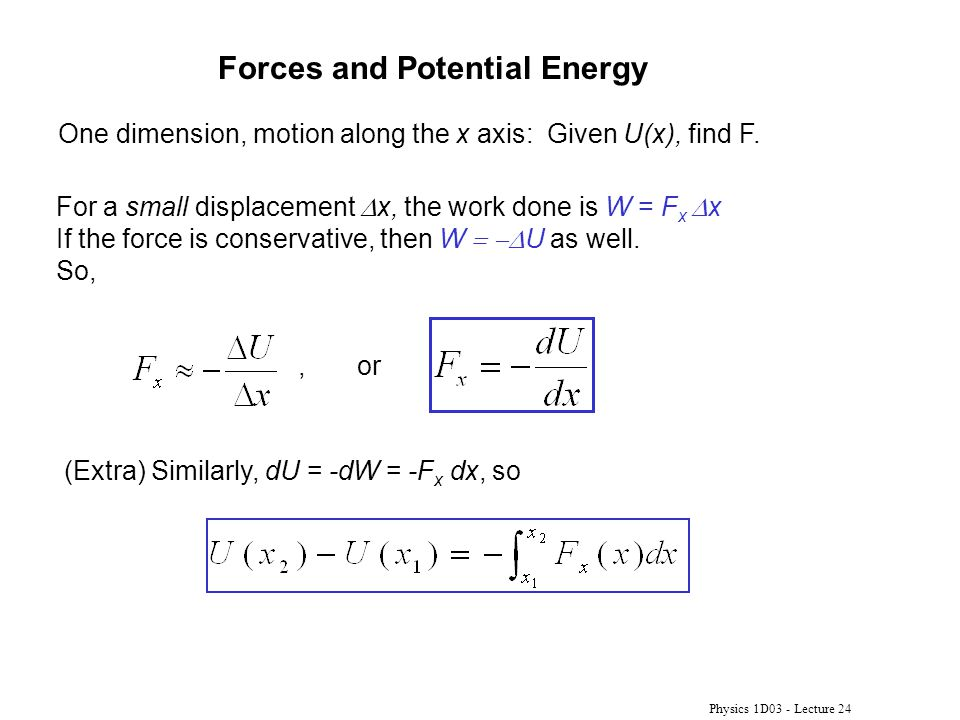 Forces and Potential Energy