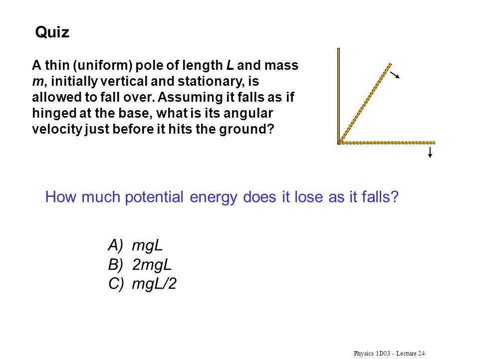 How much potential energy does it lose as it falls