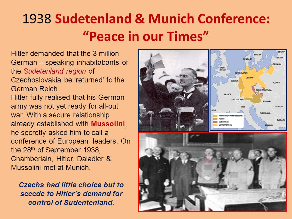 1938 Sudetenland & Munich Conference: Peace in our Times