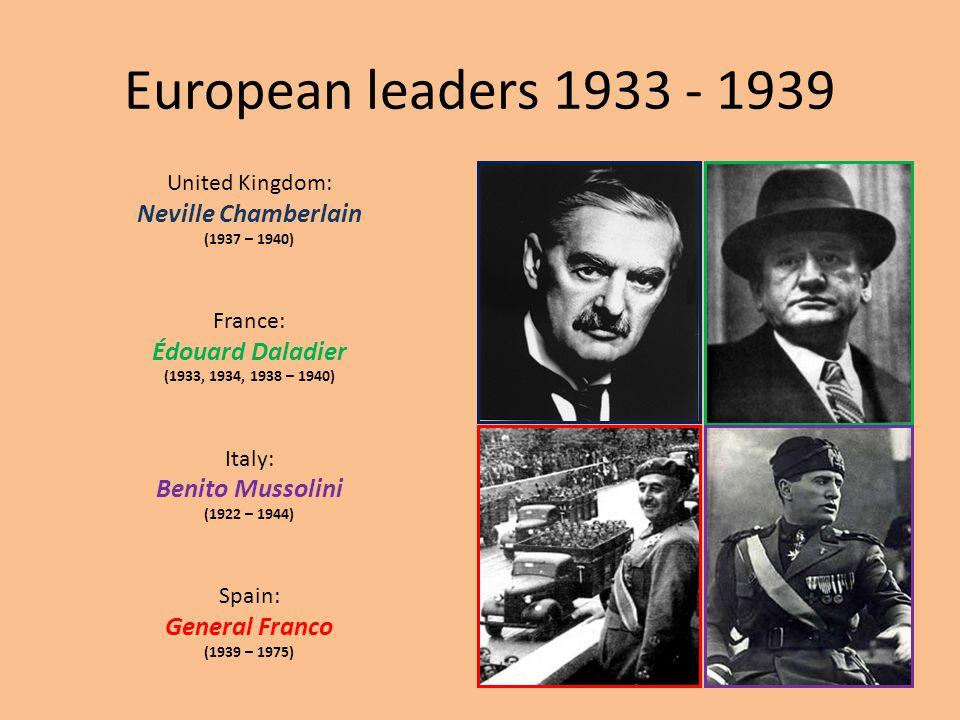 European leaders 1933 - 1939 Neville Chamberlain Édouard Daladier