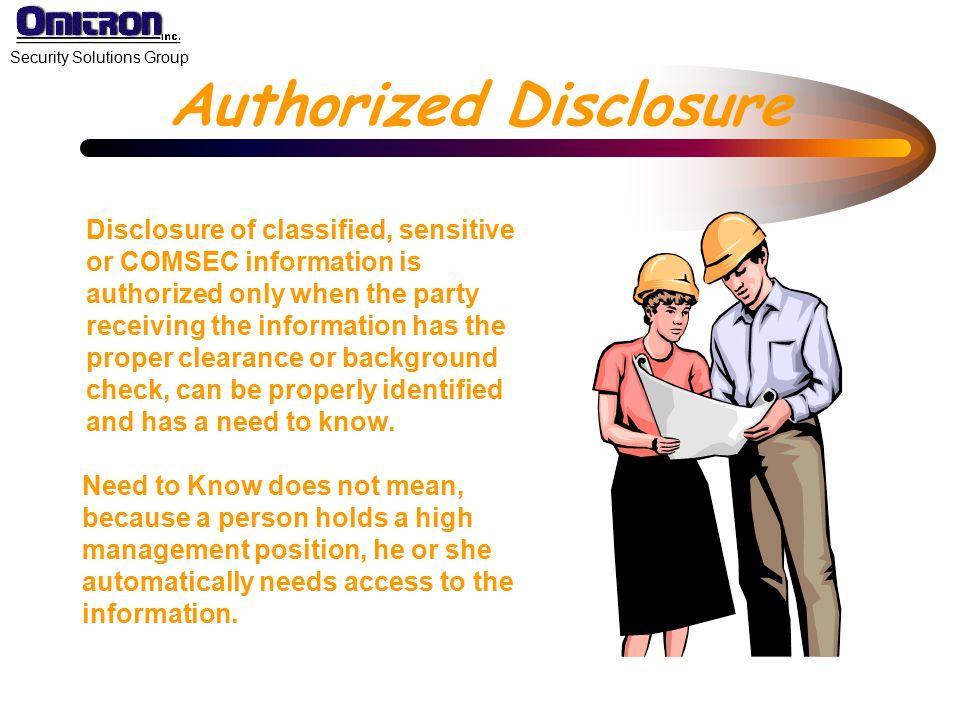 Authorized Disclosure
