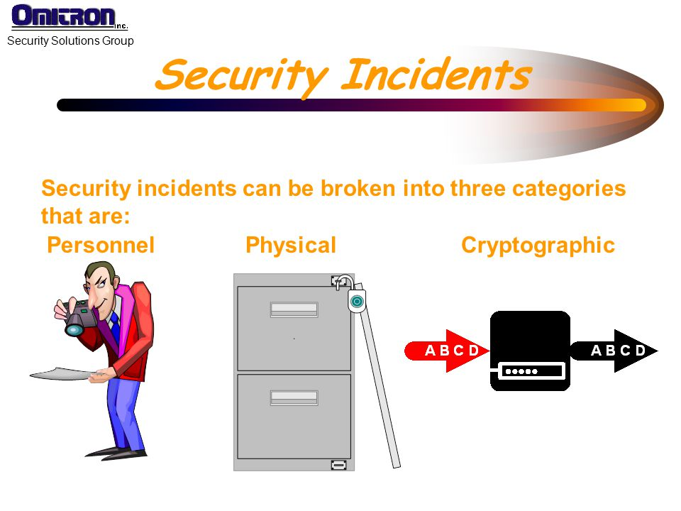 Security Incidents Security incidents can be broken into three categories that are: Personnel. Physical.