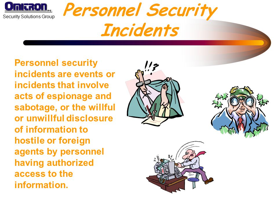 Personnel Security Incidents