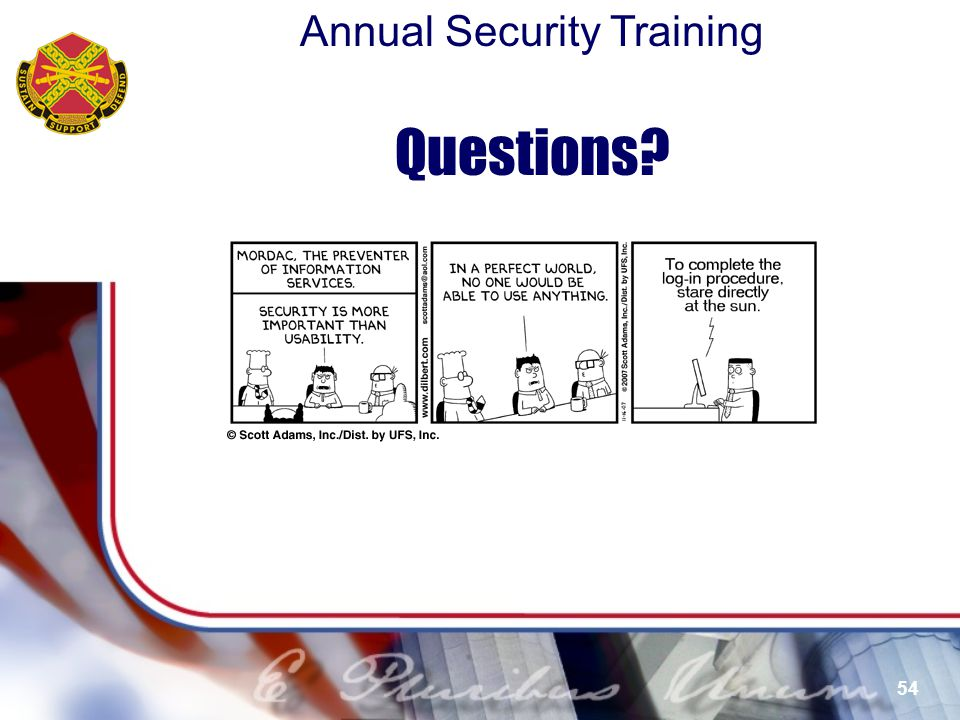 Questions More Training available from Defense Security Service …