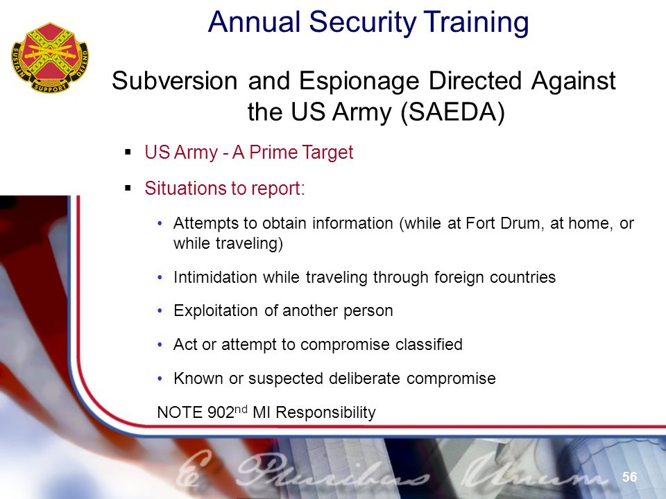 Subversion and Espionage Directed Against the US Army (SAEDA)