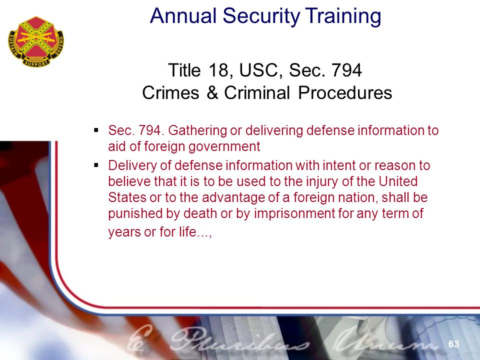 Title 18, USC, Sec. 794 Crimes & Criminal Procedures