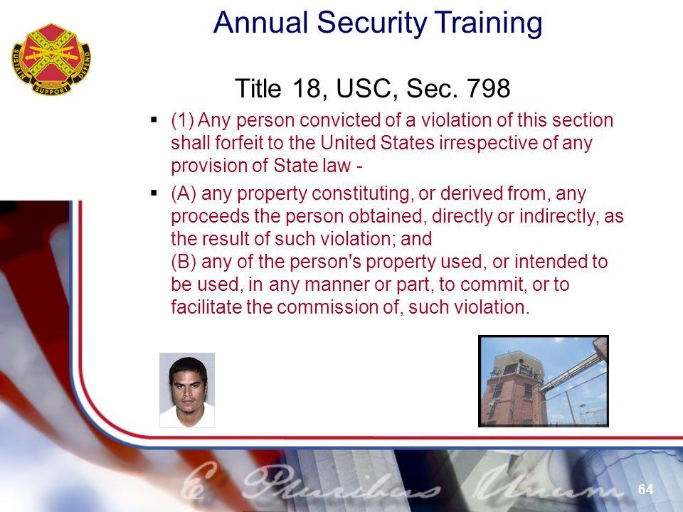 Title 18, USC, Sec. 798