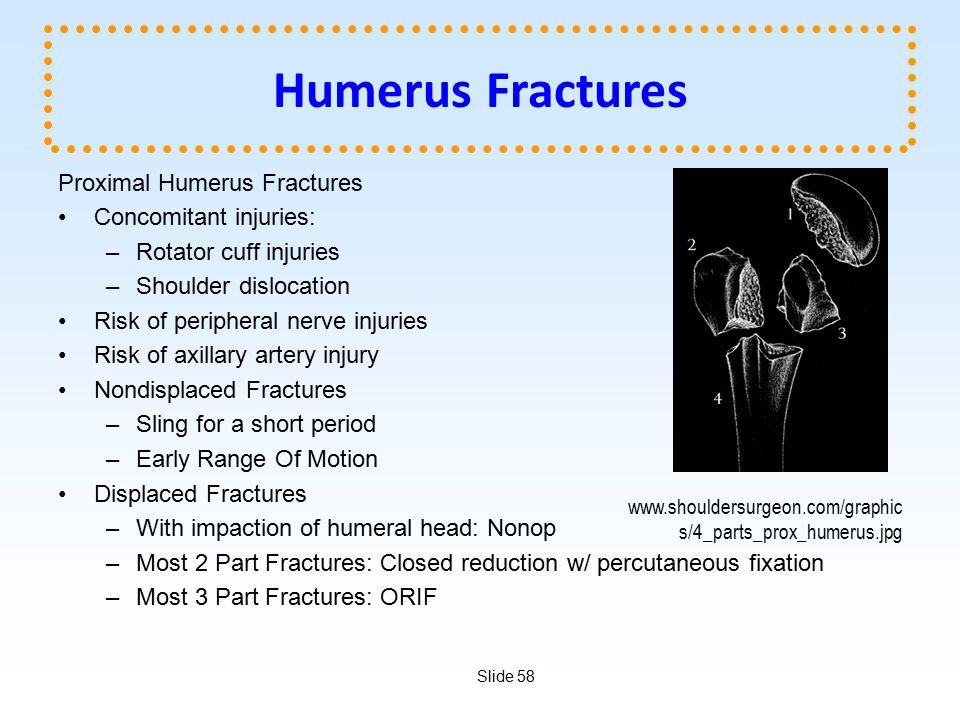 Humerus Fractures Proximal Humerus Fractures Concomitant injuries: