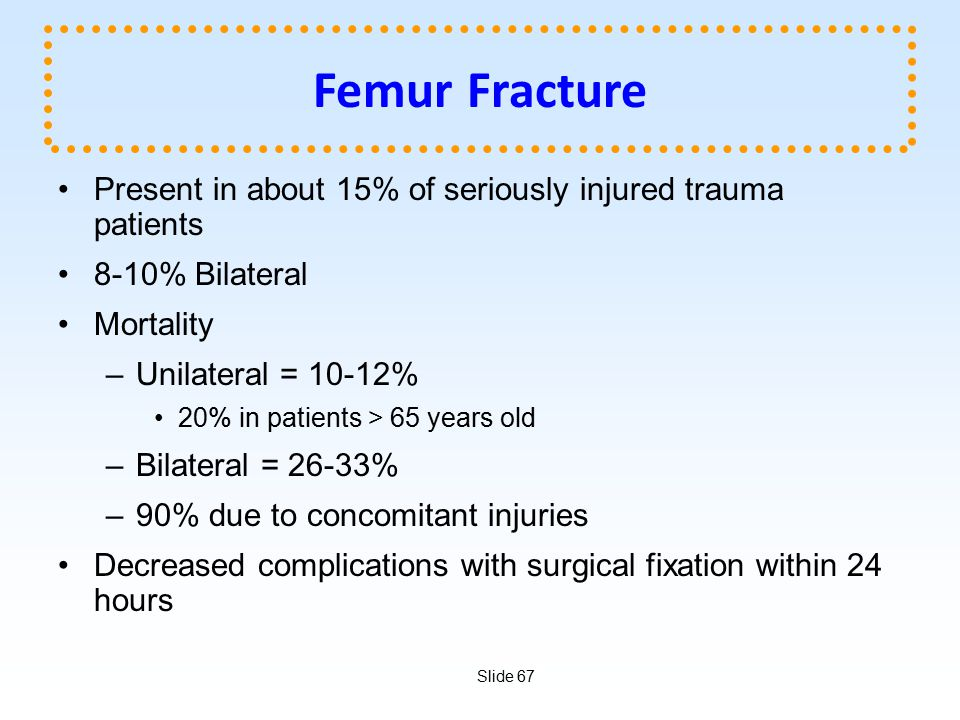 Femur Fracture Present in about 15% of seriously injured trauma patients. 8-10% Bilateral. Mortality.