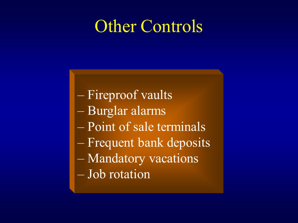 Other Controls – Fireproof vaults – Burglar alarms