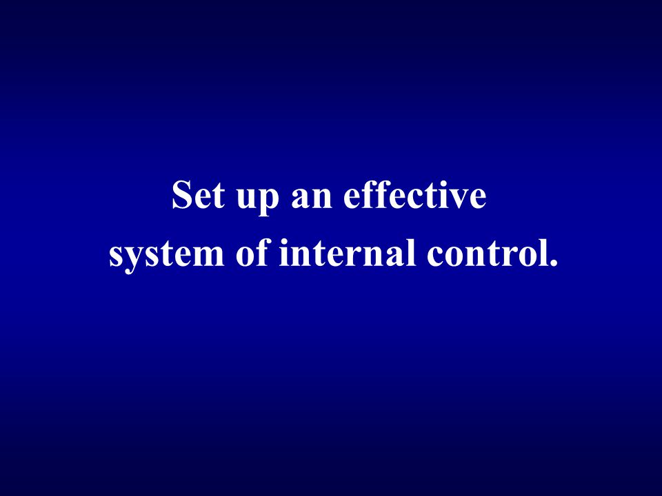system of internal control.