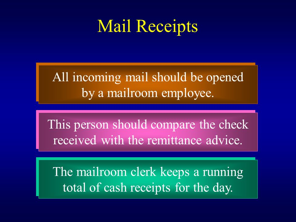 Mail Receipts All incoming mail should be opened
