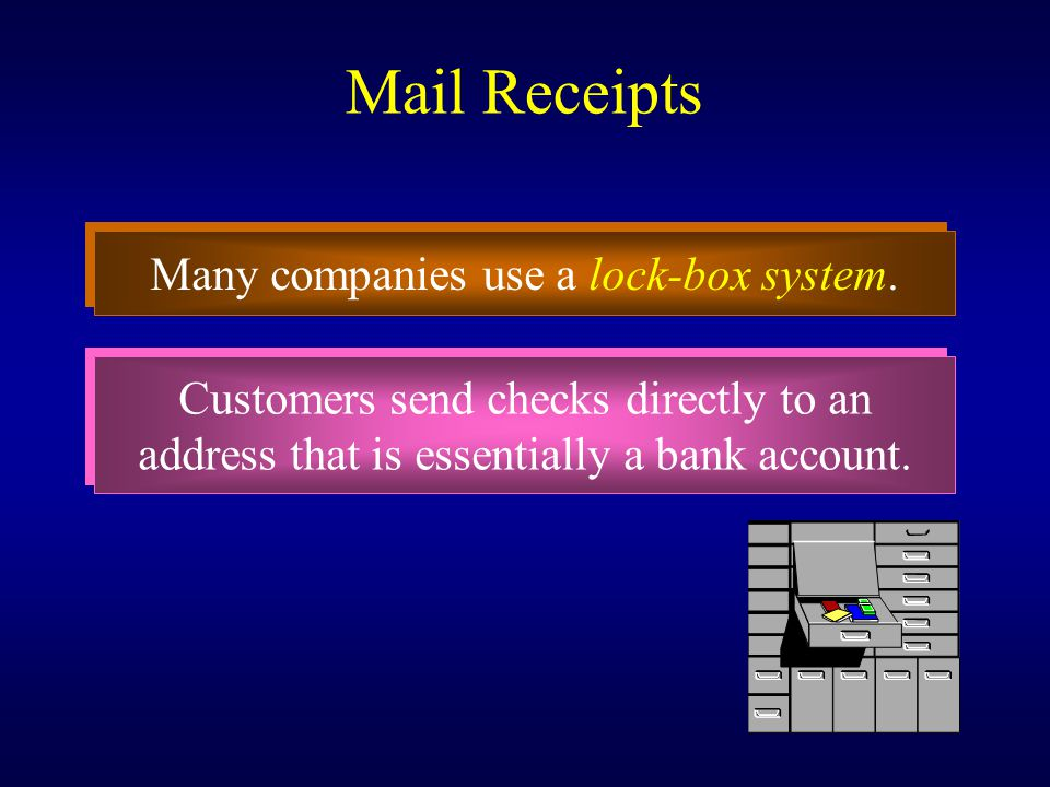 Mail Receipts Many companies use a lock-box system.