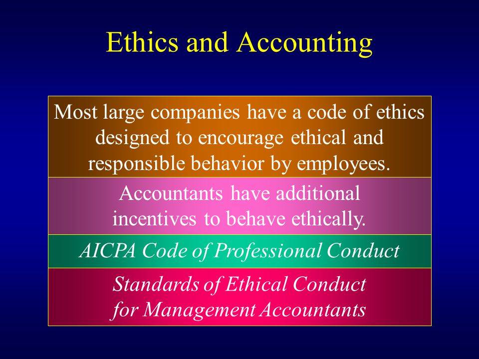 Ethics and Accounting Most large companies have a code of ethics
