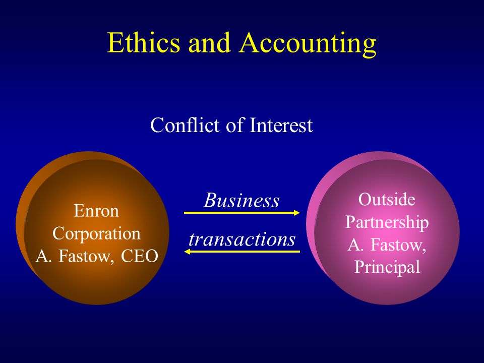Ethics and Accounting Conflict of Interest Business transactions