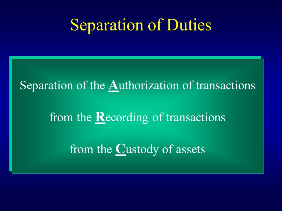 Separation of Duties Separation of the Authorization of transactions