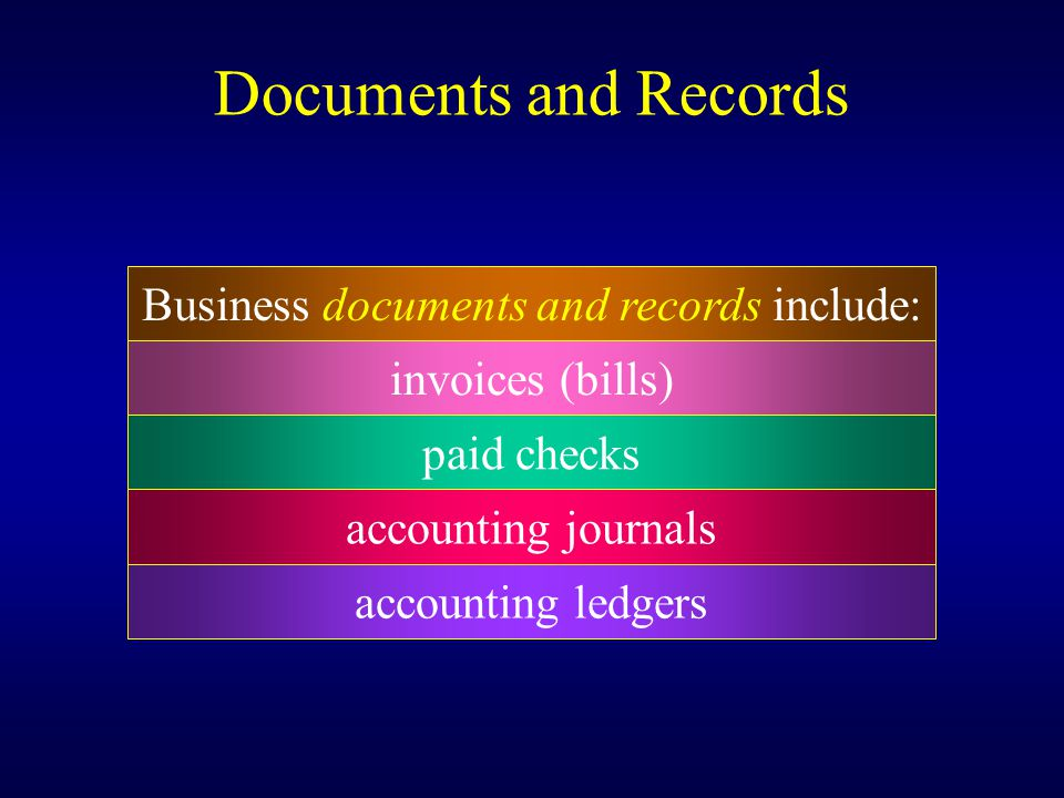 Business documents and records include: