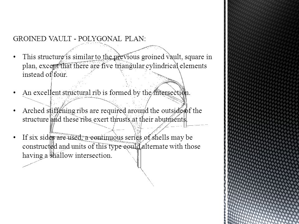 GROINED VAULT - POLYGONAL PLAN: