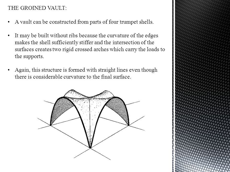 THE GROINED VAULT: A vault can be constructed from parts of four trumpet shells.