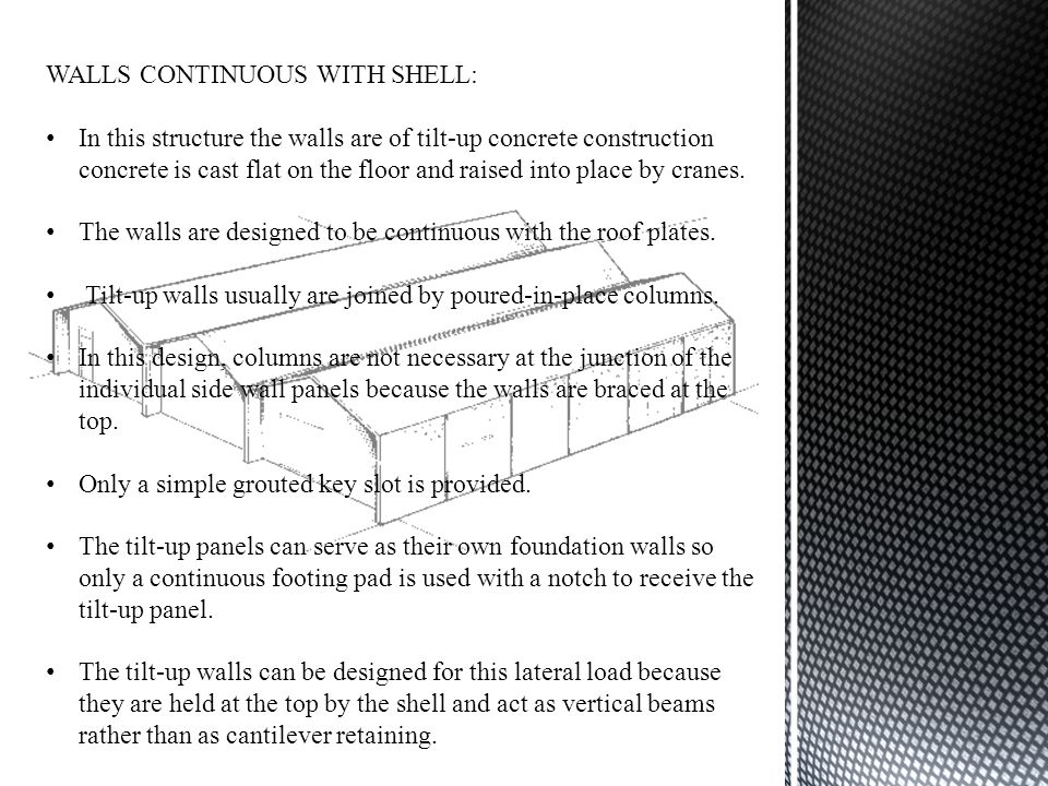 WALLS CONTINUOUS WITH SHELL:
