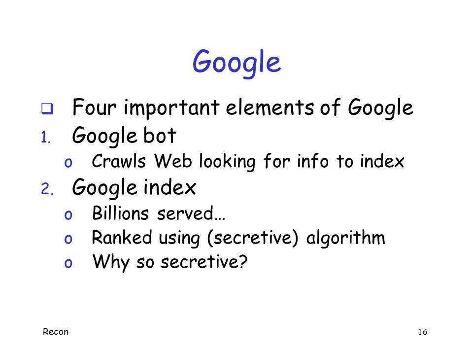 Google Four important elements of Google Google bot Google index