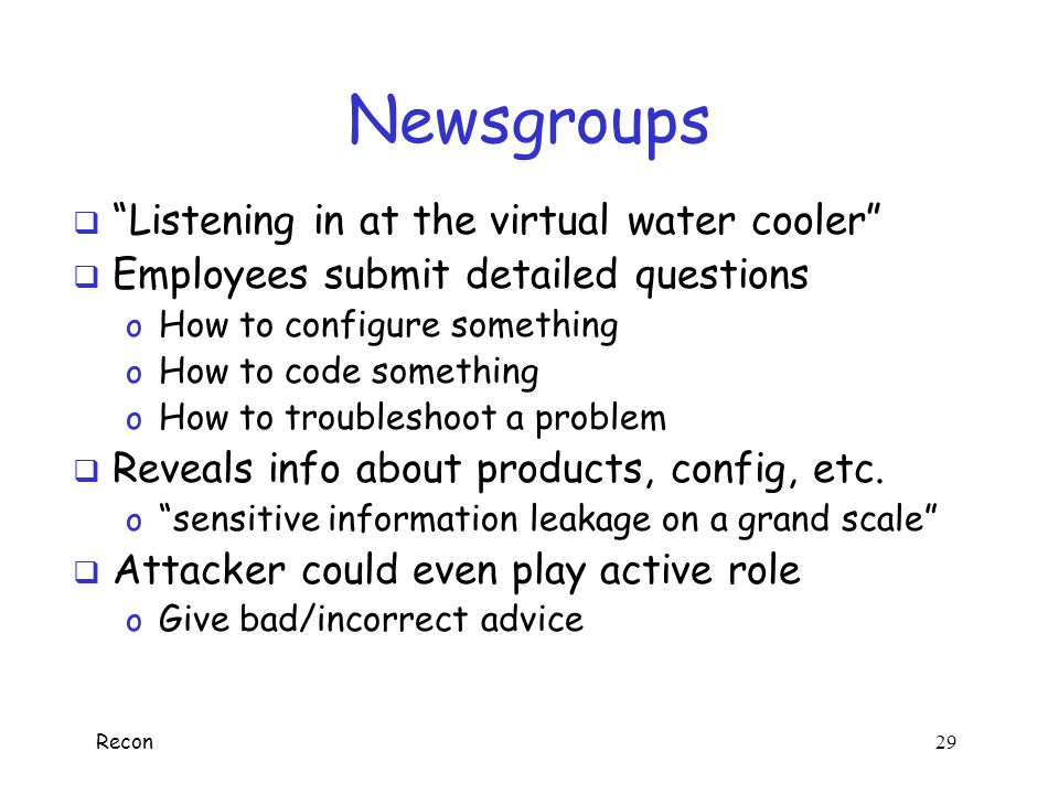 Newsgroups Listening in at the virtual water cooler