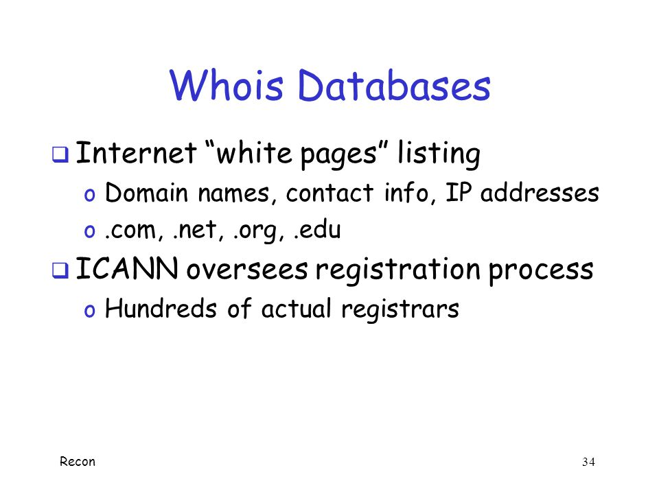 Whois Databases Internet white pages listing