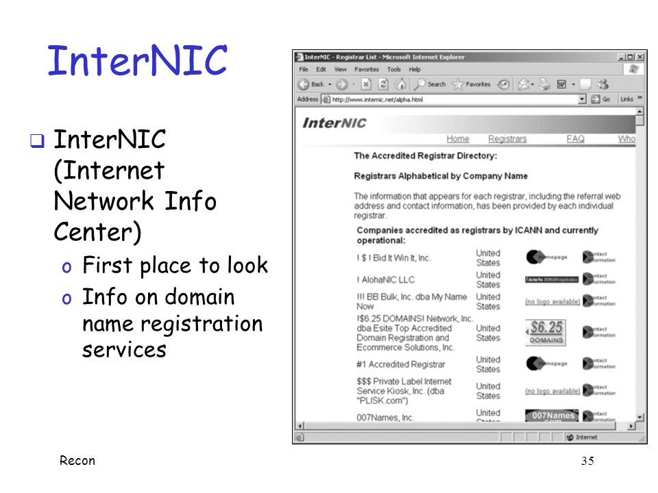 InterNIC InterNIC (Internet Network Info Center) First place to look