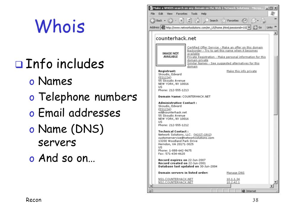 Whois Info includes Names Telephone numbers Email addresses