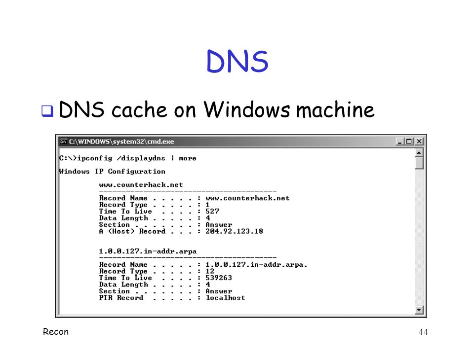 DNS DNS cache on Windows machine.